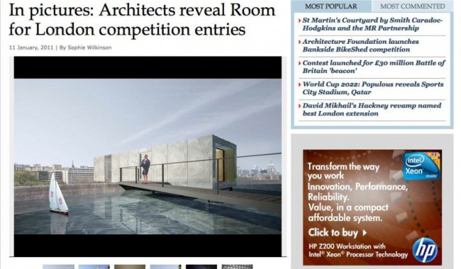 "Our ""A Room For London"" ""Competition Entry published on the AJ website"